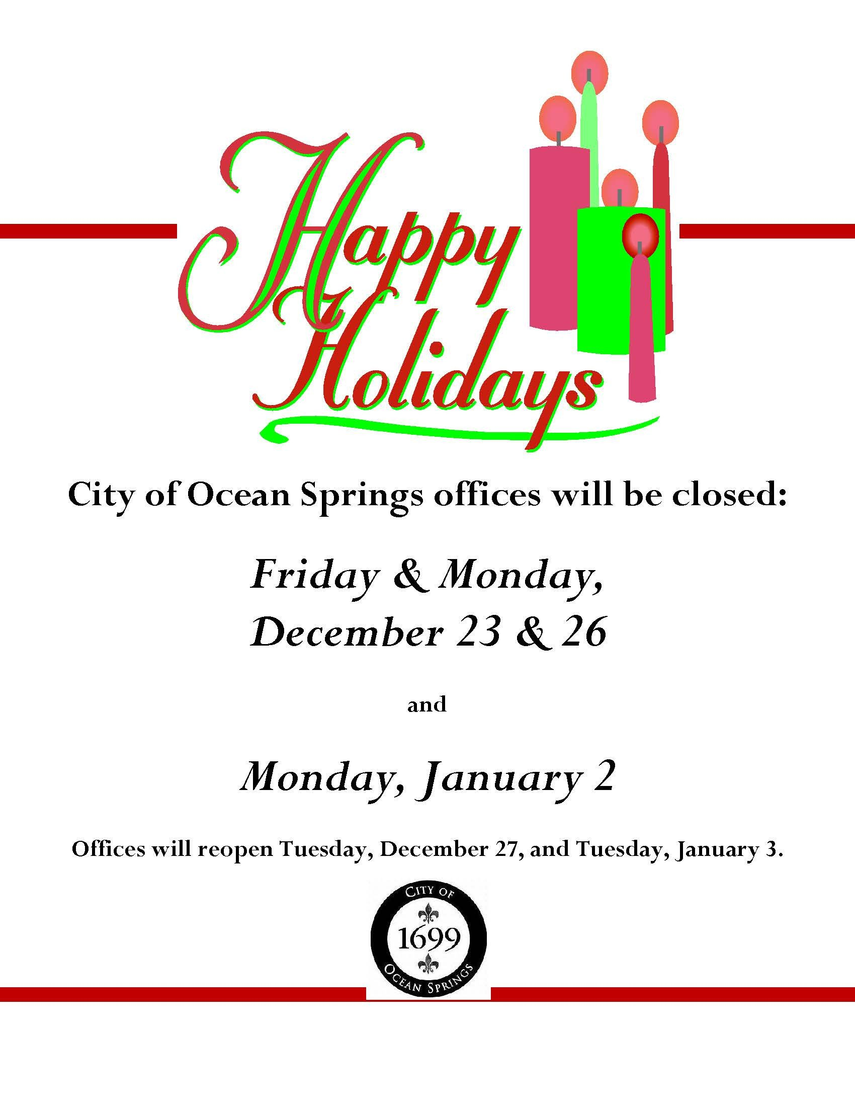 Holiday Closing Notice Template Notice Fice Closure Dates for Holidays