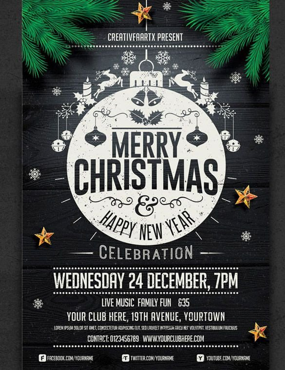 Holiday Party Flyer Template Free 57 Christmas Flyer Templates – Free Psd Ai Illustrator