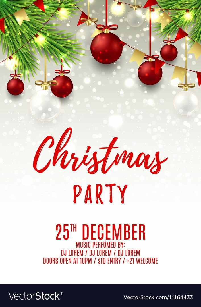 Holiday Party Flyer Template Free Christmas Party Flyer Template Royalty Free Vector Image