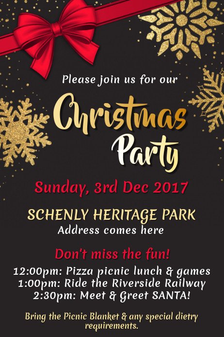 Holiday Party Flyer Template Free Christmas Poster Templates