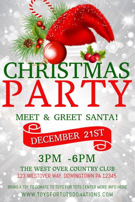 Holiday Party Flyer Template Free Copy Of Christmas