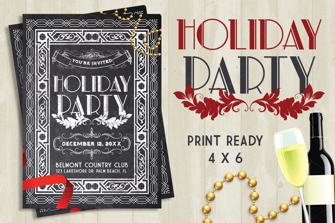 Holiday Party Flyer Template Free Holiday Party Chalk Flyer Flyer Templates On Creative Market