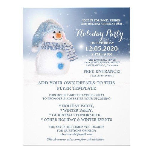 Holiday Party Flyer Template Free Snowman Flyer Template Winter and Holiday Party