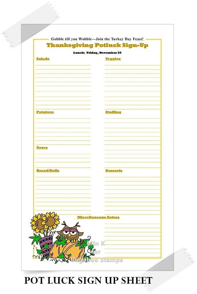 Holiday Potluck Signup Sheet Catch the Bug Challenge Blog Favorite Abc Projects Of