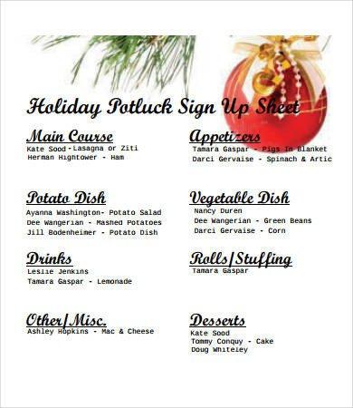 Holiday Potluck Signup Sheet Potluck Signup Sheet 12 Free Pdf Word Documents