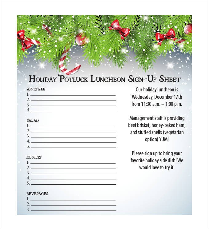 Holiday Potluck Signup Sheet Sign Up Sheets 58 Free Word Excel Pdf Documents