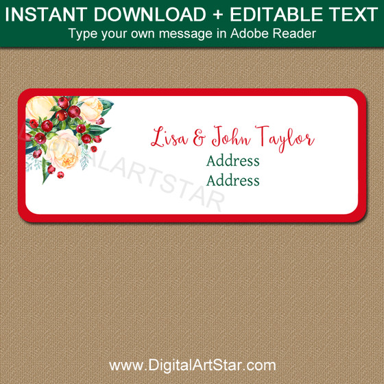 Holiday Return Address Labels Template Christmas Address Labels Holiday Mailing Labels