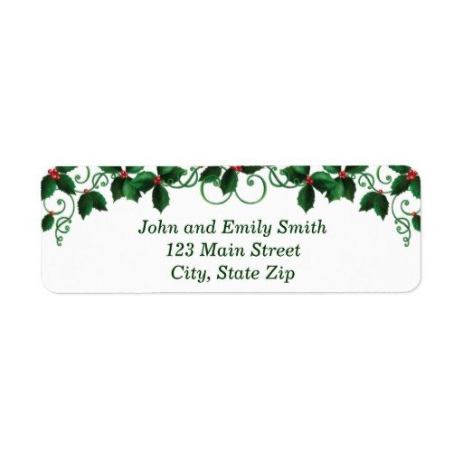 Holiday Return Address Labels Template Christmas Return Address Labels