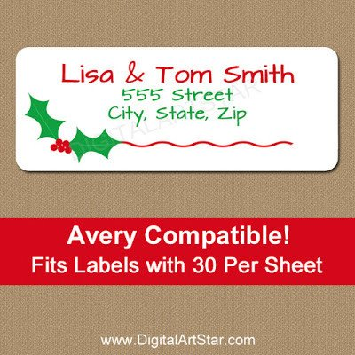 Holiday Return Address Labels Template Digital Art Star Printable Party Decor New Printable