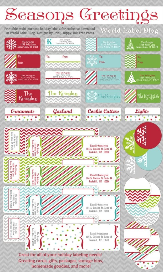 Holiday Return Address Labels Template Free Printable Holiday Address Labels