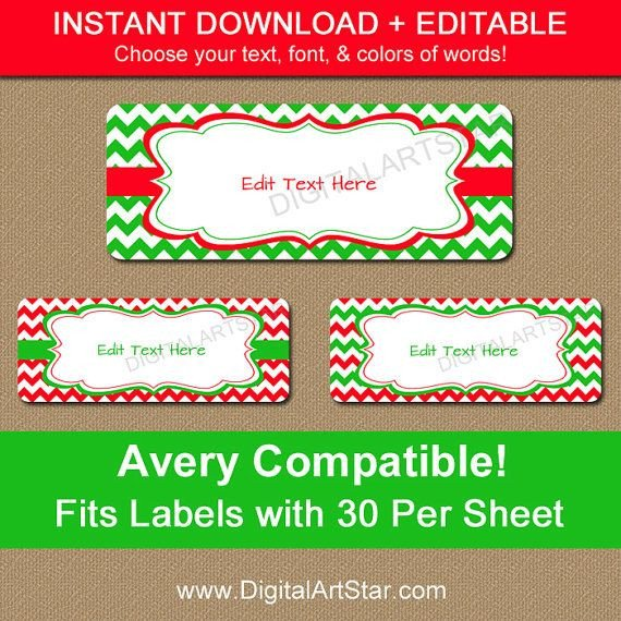 Holiday Return Address Labels Template Printable Christmas Address Labels Editable Holiday