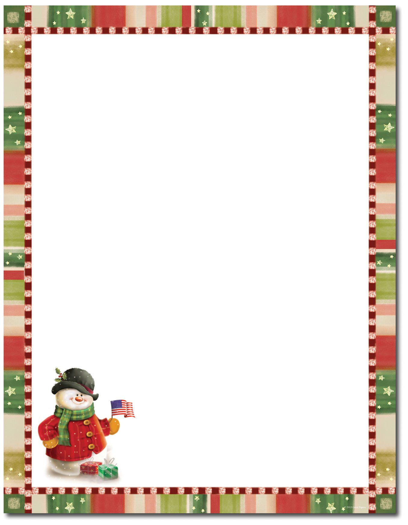 Holiday Stationary Templates Free Great Papers Patriotic Snowman Letterhead