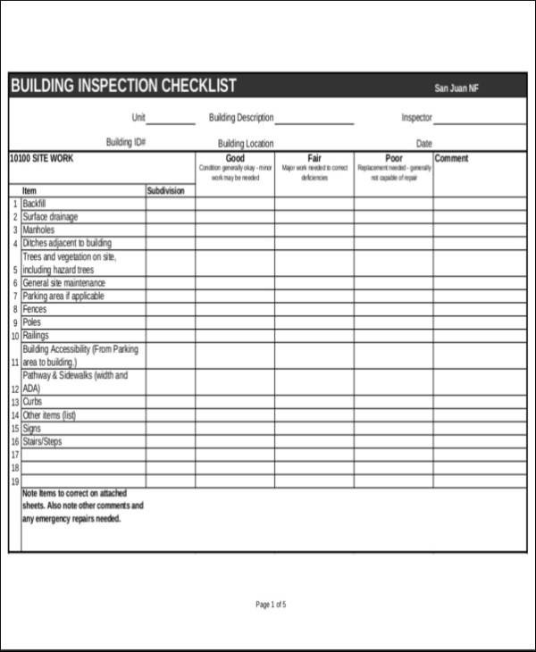 Home Building Checklist Template 24 Inspection Checklist Samples & Templates Pdf Word