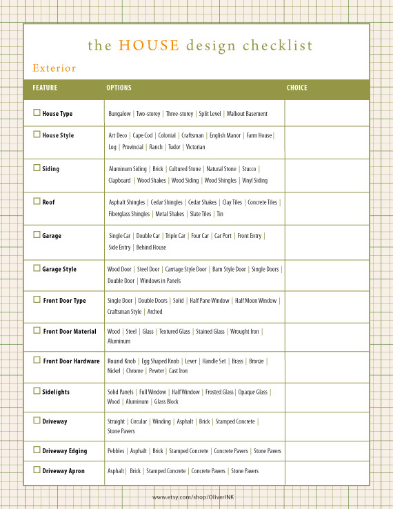 Home Building Checklist Template Home Design Checklist with Hundreds Of Options House