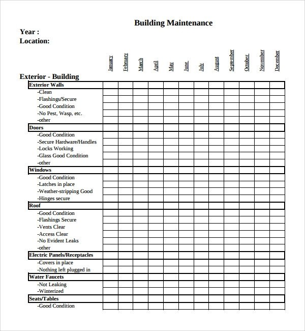 Home Building Checklist Template Sample Maintenance Checklist Template 9 Free Documents