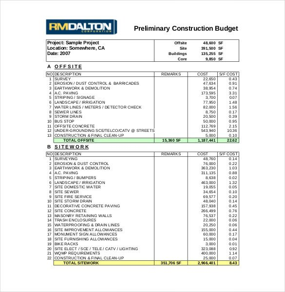 Home Construction Budget Spreadsheet 13 Construction Bud Templates Docs Pdf Excel