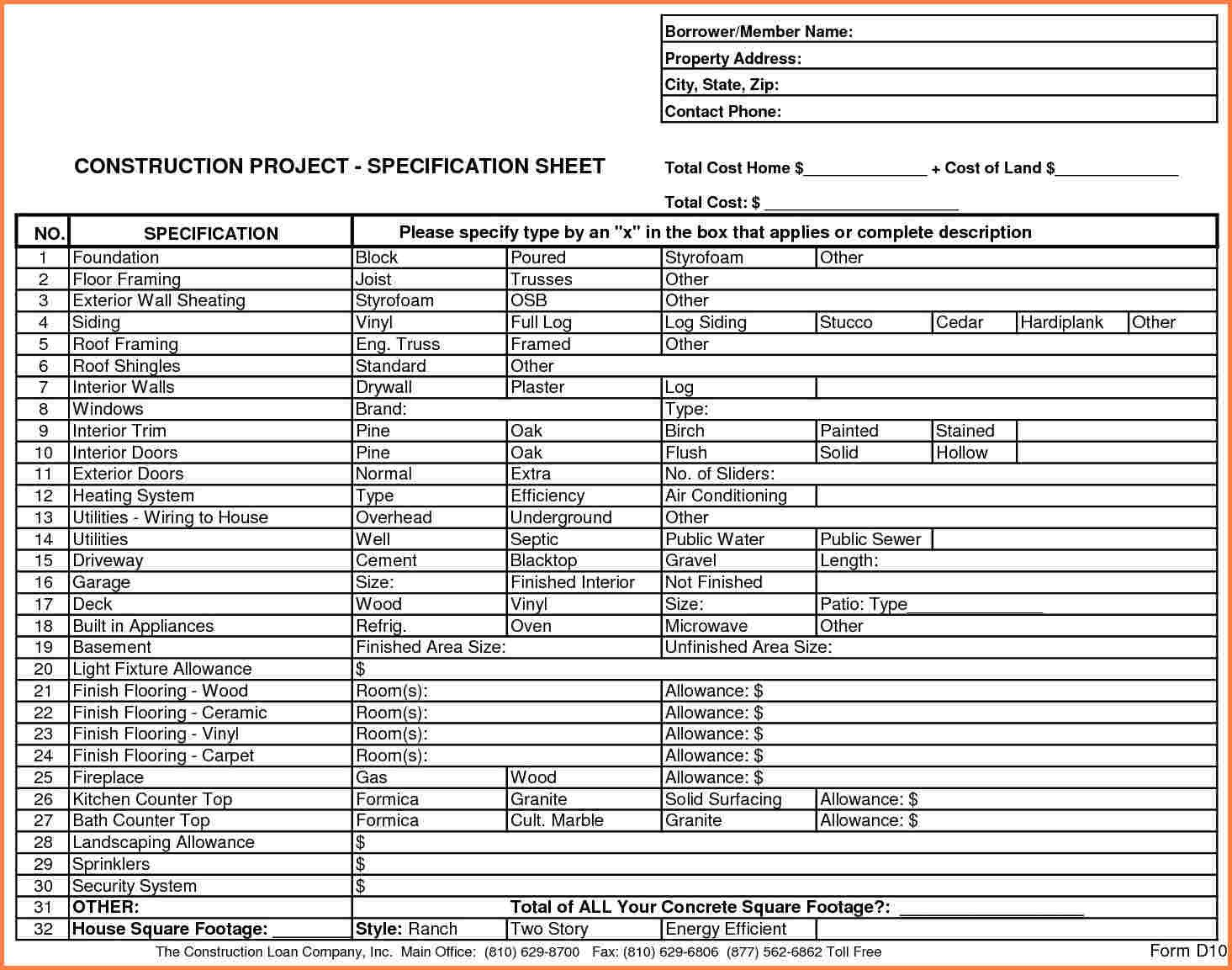 Home Construction Budget Spreadsheet 3 Home Construction Bud Spreadsheet