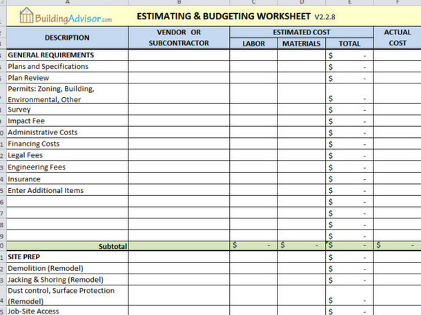Home Construction Budget Spreadsheet 6 Best Free Construction Estimate Templates