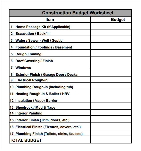 Home Construction Budget Spreadsheet Construction Bud Template 9 Download Free Documents