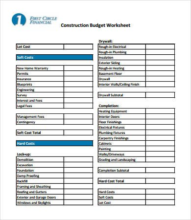 Home Construction Budget Spreadsheet Home Bud Worksheet Template 10 Free Pdf Word