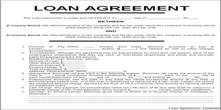 Home Equity Loan Agreement Template Loan Agreement assignment Point