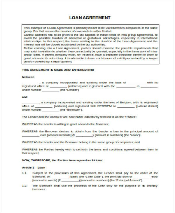 Home Equity Loan Agreement Template Loan Agreement form Word