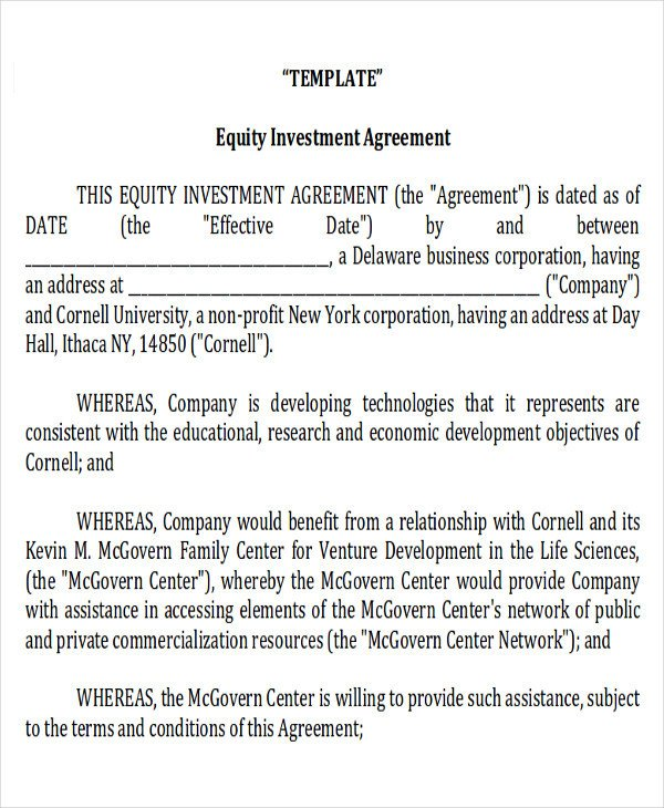 Home Equity Loan Agreement Template Sample Investment Contract Agreements 10 Examples In