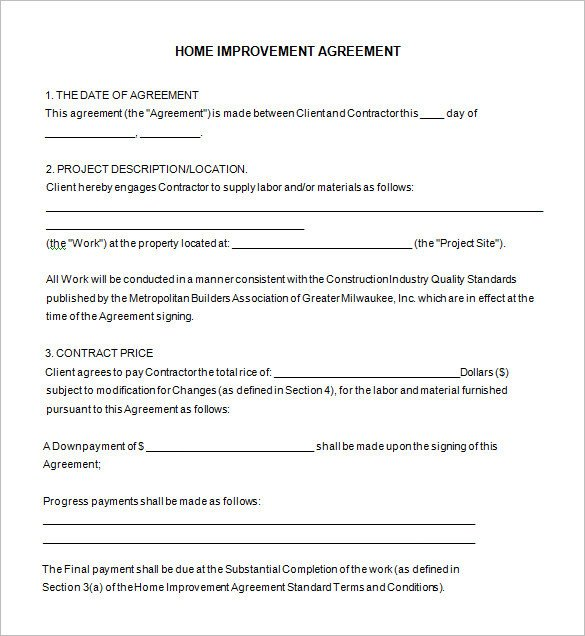 Home Improvement Contract Template 10 Home Remodeling Contract Templates Word Docs Pages