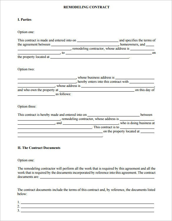 Home Improvement Contract Template 11 Remodeling Contract Templates Docs Word Apple