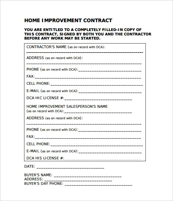 Home Improvement Contract Template 9 Home Remodeling Contract Templates Word Pages Docs