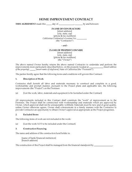 Home Improvement Contract Template California Home Improvement Contract