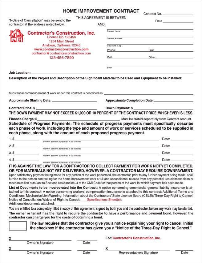 Home Improvement Contract Template Custom Electronic California Home Improvement Contracts