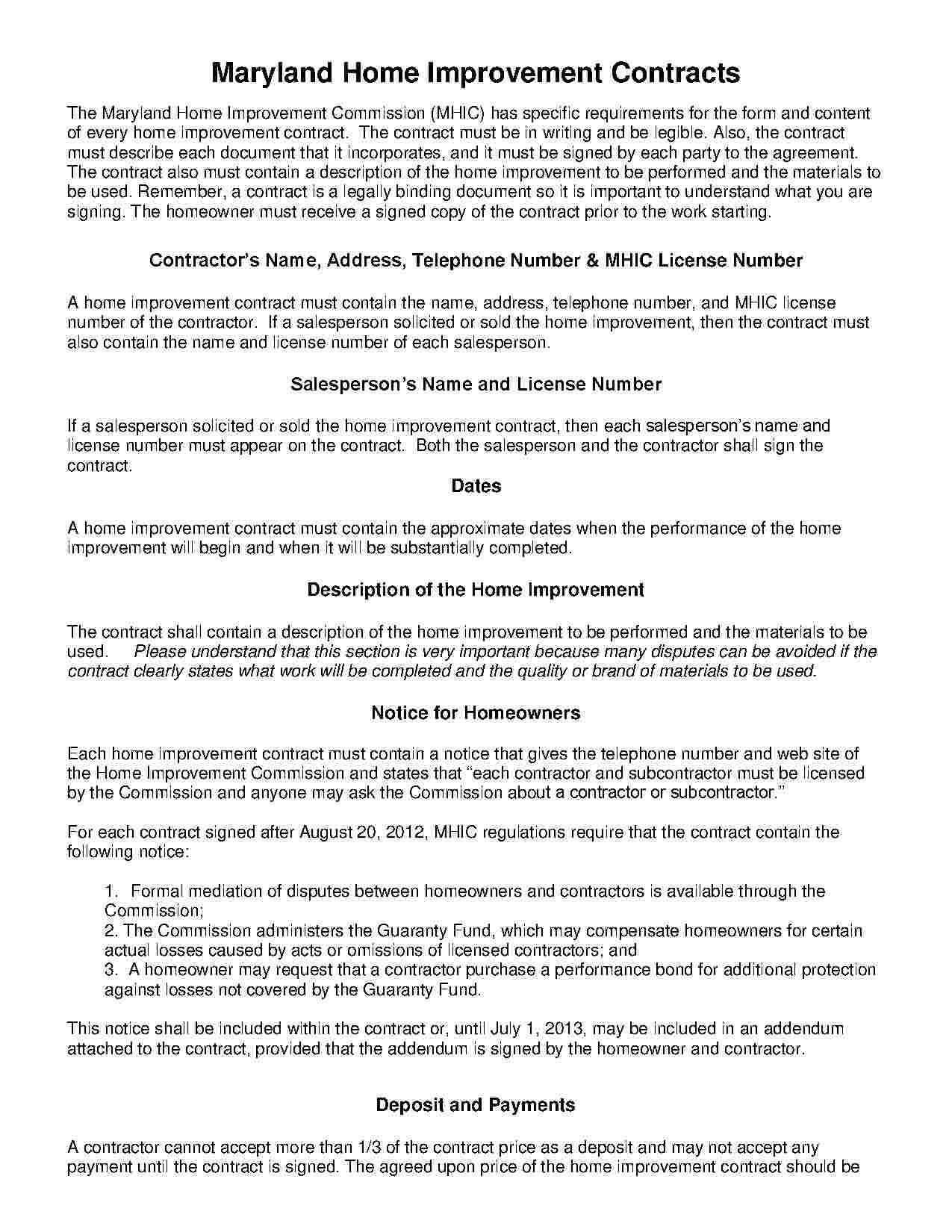 Home Improvement Contract Template Download Home Improvement Contract Style 18 Template for