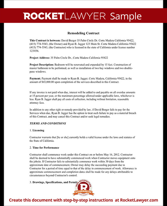 Home Improvement Contract Template Home Improvement Contract Agreement Template with Sample