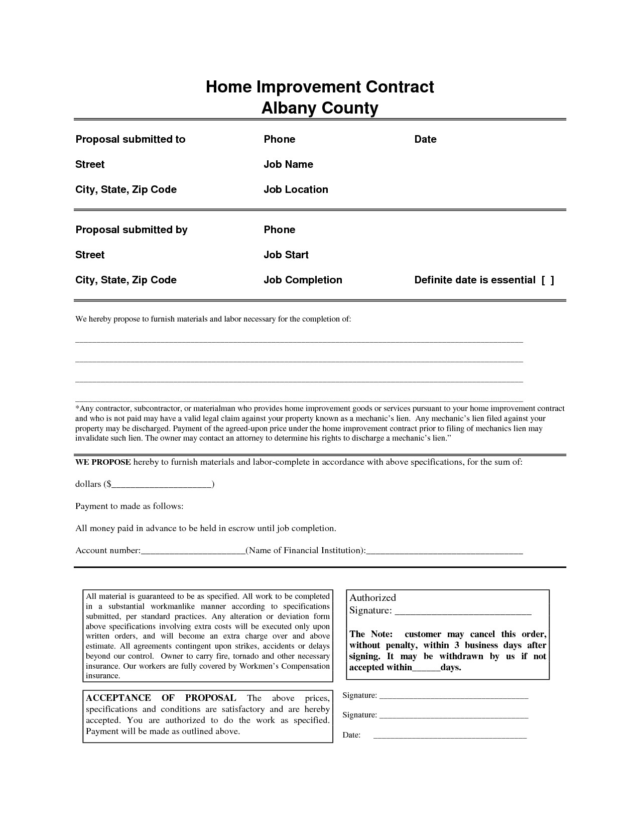 Home Improvement Contract Template Home Improvement Contract Free Printable Documents