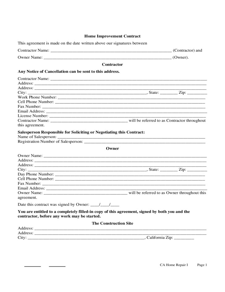 Home Improvement Contract Template Home Improvement Contract Sample Free Download