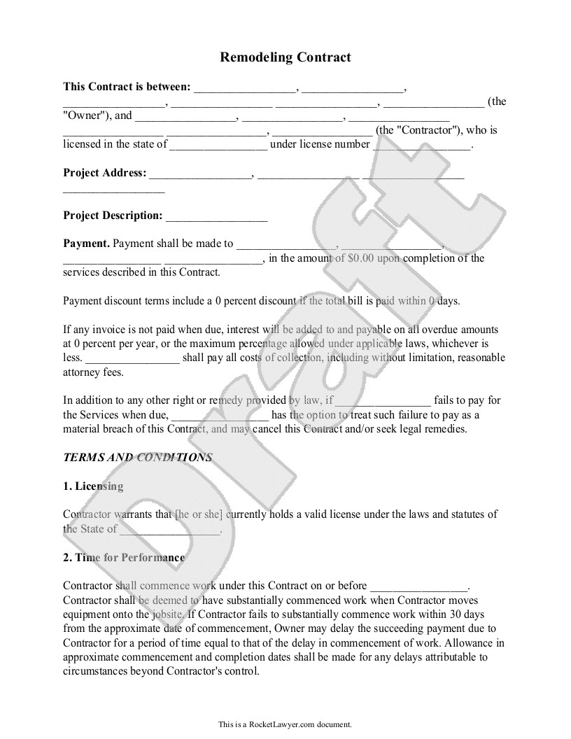 Home Improvement Contract Template Home Remodeling Contract form with Sample