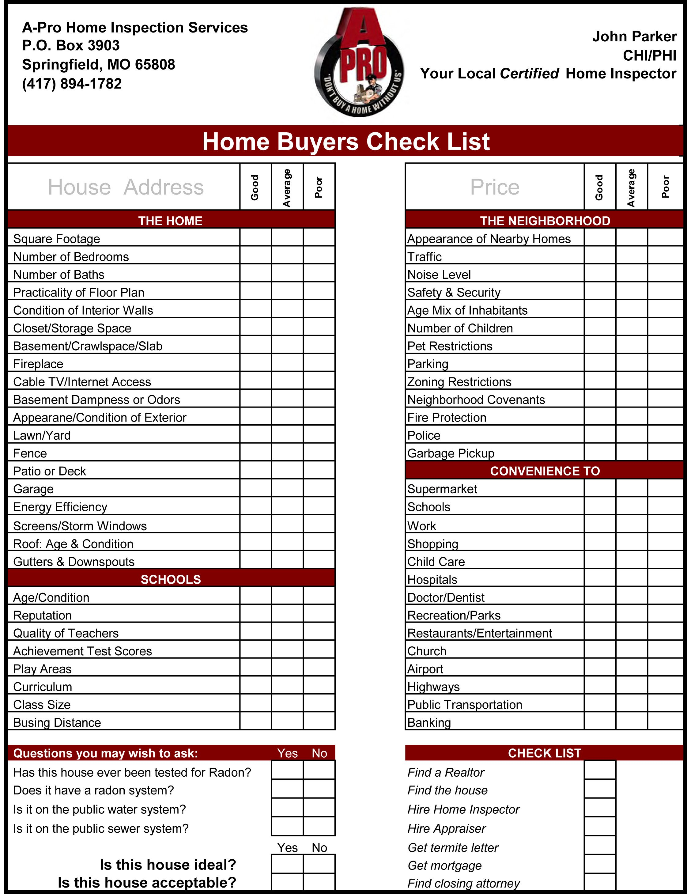 Home Inspection Checklist Excel Home Inspection Checklist