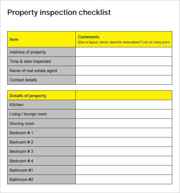 Home Inspection Checklist Template 17 Home Inspection Checklists – Word Pdf