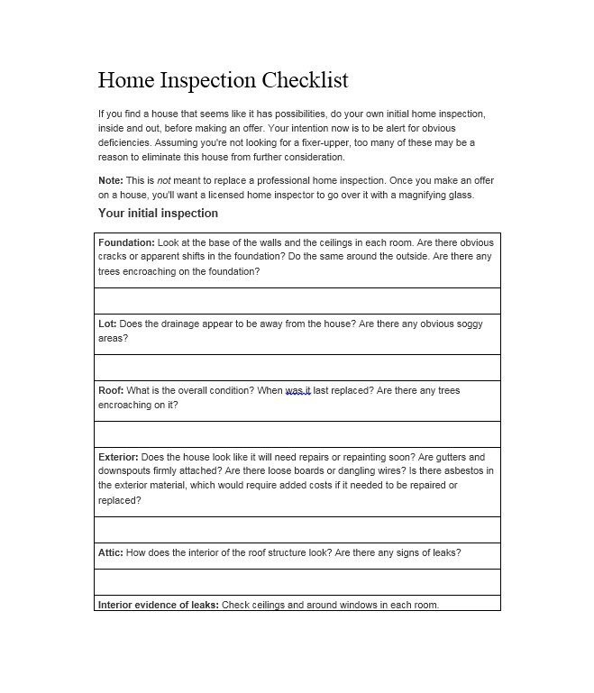 Home Inspection Checklist Template 20 Printable Home Inspection Checklists Word Pdf