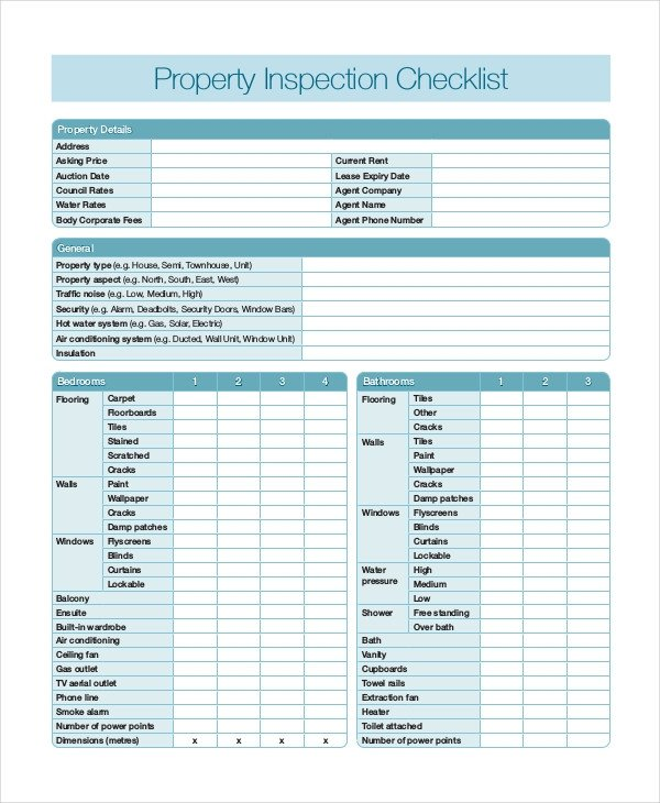 Home Inspection Checklist Template Home Inspection Checklist 17 Word Pdf Documents