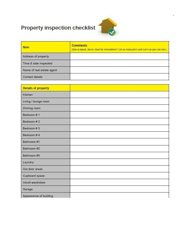 Home Inspection Checklist Templates 20 Printable Home Inspection Checklists Word Pdf