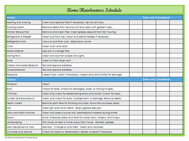 Home Maintenance Checklist Printable 31 Days Of Home Management Binder Printables Day 22 Home