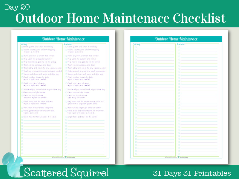 Home Maintenance Checklist Printable Day 20 Outdoor Home Maintenance Checklists Scattered