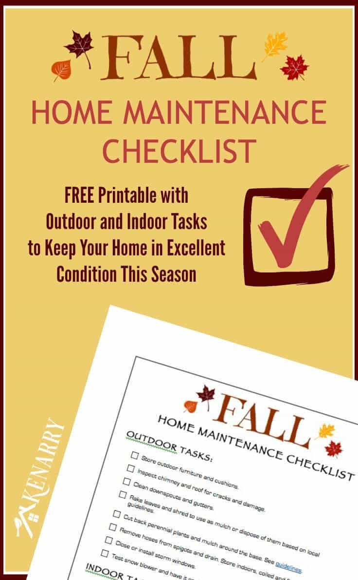 Home Maintenance Checklist Printable Fall Home Maintenance Checklist Free Printable Kenarry