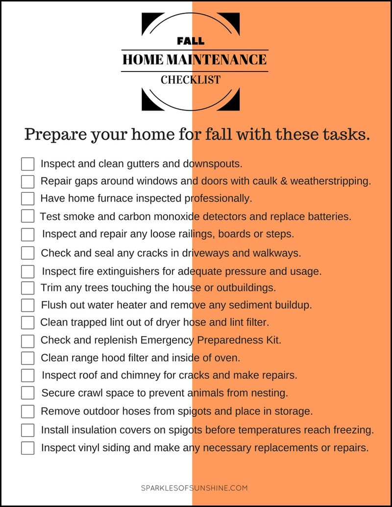 Home Maintenance Checklist Printable Fall Home Maintenance Checklist Sparkles Of Sunshine