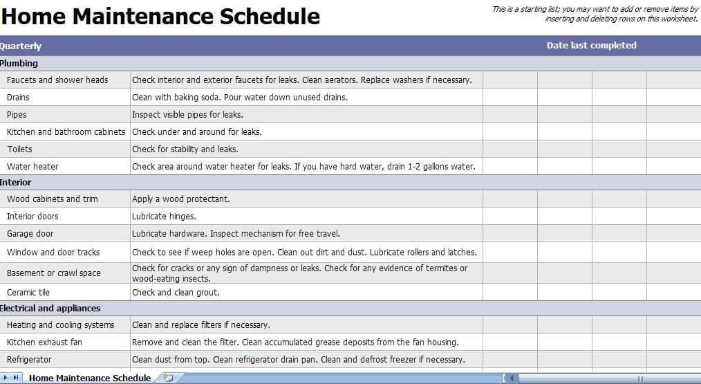 Home Maintenance Checklist Printable Home Maintenance Checklist