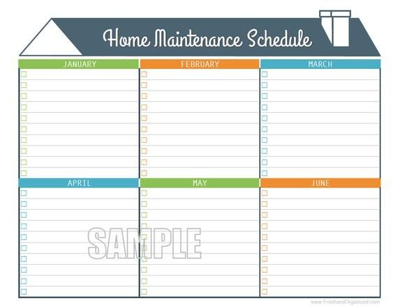 Home Maintenance Checklist Printable Home Maintenance Schedule Home Maintenance Calendar