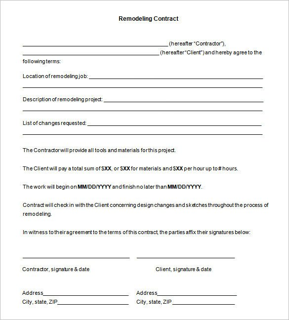 Home Remodeling Contract Template 11 Remodeling Contract Templates Docs Word Apple