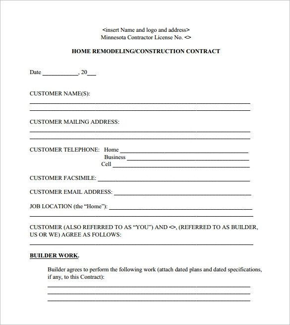 Home Remodeling Contract Template 12 Remodeling Contract Templates Pages Docs Word